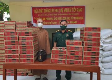 H.Chợ Gạo: NPĐ Liên Hoa tiếp tục hỗ trợ 400 phần quà đến người dân khu phong tỏa phòng chống dịch bệnh